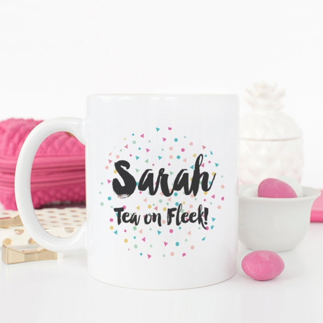 personalised tea on fleek confetti mug sarah hurley
