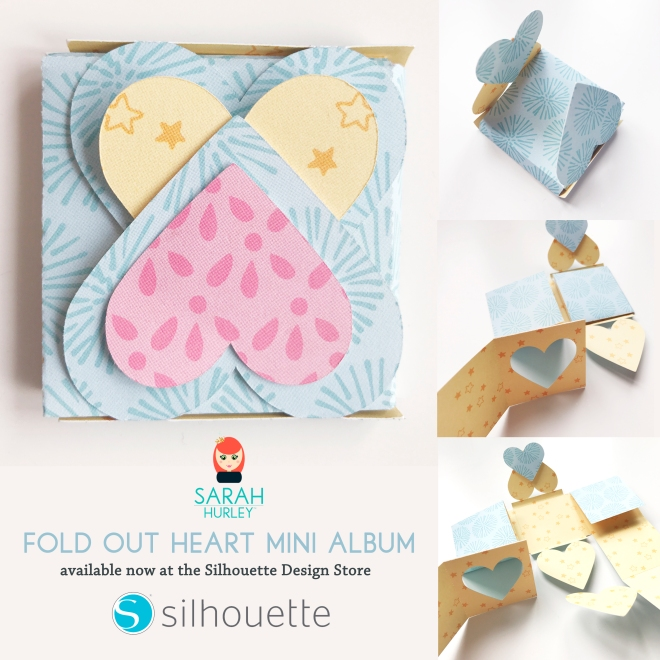 Fold out heart mini album sarah hurley silhouette.jpg