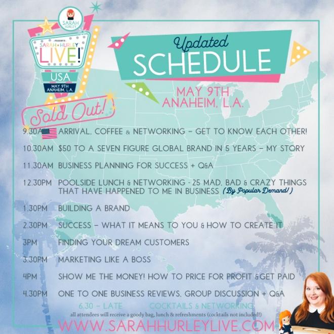 SH Live USA Final Schedule