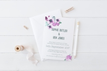 Watercolour floral wedding stationery orchid