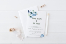 Watercolour floral wedding stationery periwinkle